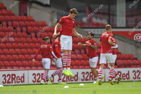 Barnsley's Aapo Halme jumps during warm up.