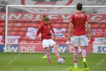 Barnsley's Kilian Ludewig on the ball during warm up.