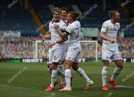 Patrick Bamford celebrates scoring Leeds first goal
