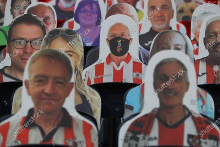 Faces on seats of the Exeter City fans, inside Wembley Stadium, before the SkyBet League 2 play off final between Exeter City and Northampton Town