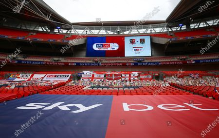 Sky Bet EFL Branding inside Wembley Stadium at the Exeter City cardboard fans end, before the SkyBet League 2 play off final between Exeter City and Northampton Town