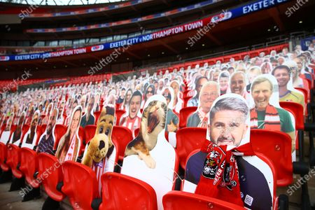 Faces on seats of the Exeter City fans, including a yawning cat and West Country rival manager Plymouth manager Ryan Lowe, and Sky Bet branding, inside Wembley Stadium, before the SkyBet League 2 play off final between Exeter City and Northampton Town