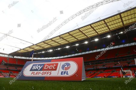 Sky Bet EFL corner branding inside Wembley Stadium, before the SkyBet League 2 play off final between Exeter City and Northampton Town