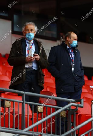 EFL Chairman Rick Parry, wearing a protective mask before the start of the SkyBet League 2 play off final between Exeter City and Northampton Town