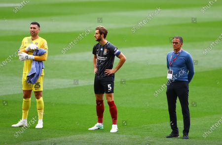Northampton Town manager Keith Curle stands a socially distanced space away from Charlie Goode, captain and Northampton Town goalkeeper Steve Arnold