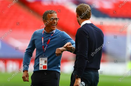 Northampton Town manager Keith Curle touches elbows with Exeter City manager Matt Taylor before the start of the Sky Bet League 2 Play off Final
