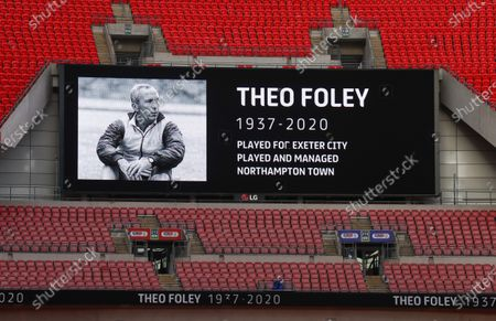 A minute's silence for Theo Foley before the start of the Sky Bet League 2 Play off Final between Exeter City and Northampton Town