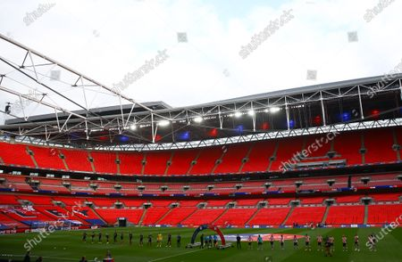 The players from both teams line up inside Wembley Stadium before the start of the Sky Bet League 2 Play off Final between Exeter City and Northampton Town