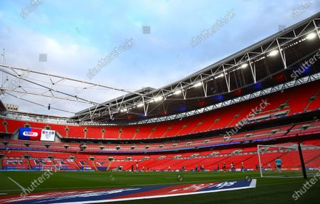 Sky Bet EFL branding inside Wembley Stadium during the match between Exeter City and Northampton Town for the League 2 Play Off Final