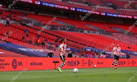 Action inside an empty Wembley Stadium, with Mitre branding, during the Sky Bet League 2 Play off Final between Exeter City and Northampton Town