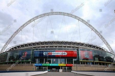 Wembley Stadium, with EFL branding, before the SkyBet League 2 play off final between Exeter City and Northampton Town