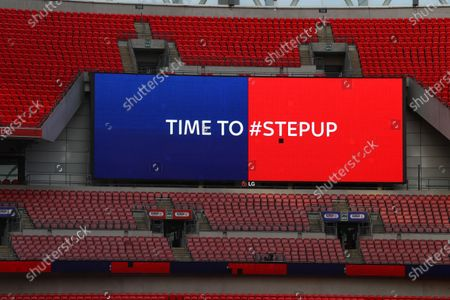 The giant screen shows Sky Bet Step Up branding at Wembley Stadium during the Sky Bet League 2 Play off Final between Exeter City and Northampton Town