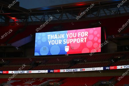 The giant screen shows Sky Bet Thank You for Your Support branding at Wembley Stadium during the Sky Bet League 2 Play off Final between Exeter City and Northampton Town