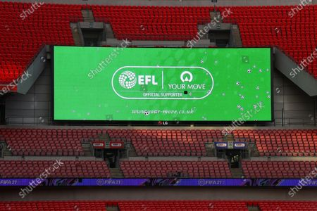 The giant screen shows Your Move branding at Wembley Stadium during the Sky Bet League 2 Play off Final between Exeter City and Northampton Town