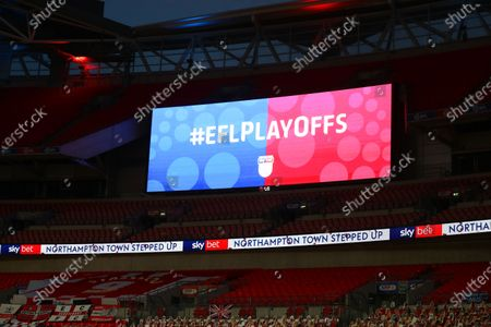 The giant screen shows EFL Play Offs branding at Wembley Stadium during the Sky Bet League 2 Play off Final between Exeter City and Northampton Town