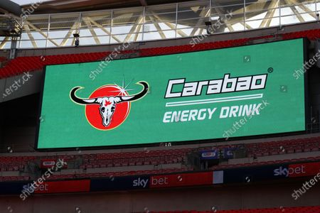 The giant screen shows Carabao drink  branding at Wembley Stadium during the Sky Bet League 2 Play off Final between Exeter City and Northampton Town