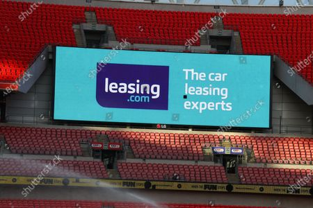 The giant screen shows Leasing.com branding at Wembley Stadium during the Sky Bet League 2 Play off Final between Exeter City and Northampton Town