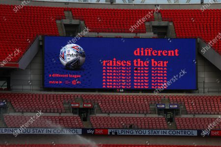 The giant screen shows Mitre branding at Wembley Stadium during the Sky Bet League 2 Play off Final between Exeter City and Northampton Town