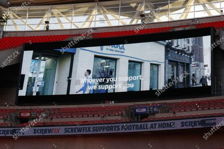The giant screen shows Mind branding at Wembley Stadium during the Sky Bet League 2 Play off Final between Exeter City and Northampton Town
