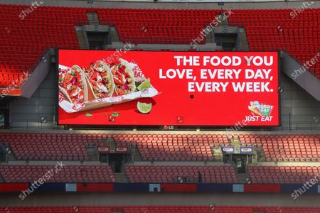 The giant screen shows Just Eat branding at Wembley Stadium during the Sky Bet League 2 Play off Final between Exeter City and Northampton Town