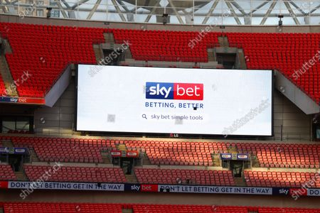 The giant screen shows Sky Bet branding at Wembley Stadium during the Sky Bet League 2 Play off Final between Exeter City and Northampton Town