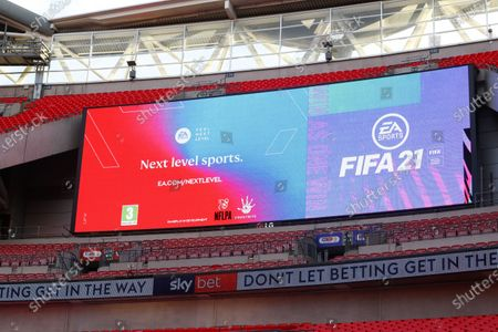 The giant screen shows FIFA branding at Wembley Stadium during the Sky Bet League 2 Play off Final between Exeter City and Northampton Town