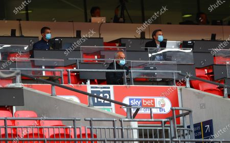 Journalists in the press box wearing protective masks during the Sky Bet League 2 Play off Final between Exeter City and Northampton Town