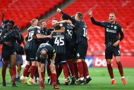 Northampton Town celebrate at full time with after beating Exeter 4-0 the Sky Bet League 2 Play off Final