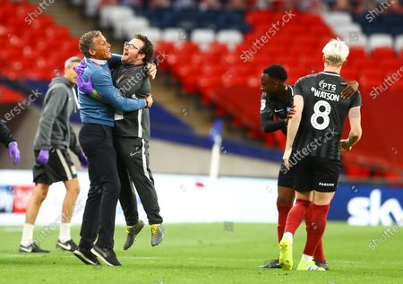 Northampton Town manager Keith Curle celebrates at full time with after beating Exeter 4-0 the Sky Bet League 2 Play off Final