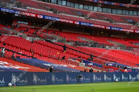 Action inside Wembley Stadium, with Mind branding, during the Sky Bet League 2 Play off Final between Exeter City and Northampton Town