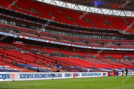 Action inside Wembley Stadium, with Screwfix  branding, during the Sky Bet League 2 Play off Final between Exeter City and Northampton Town