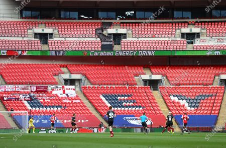 Action inside Wembley Stadium, with Carabao drink branding, during the Sky Bet League 2 Play off Final between Exeter City and Northampton Town