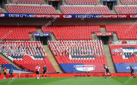 Action inside Wembley Stadium, with Mitre branding, during the Sky Bet League 2 Play off Final between Exeter City and Northampton Town
