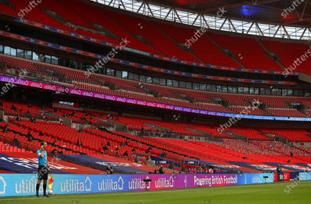 Action inside Wembley Stadium, with Utilita branding, during the Sky Bet League 2 Play off Final between Exeter City and Northampton Town