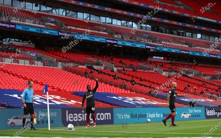 Action inside Wembley Stadium, with Leasing.com branding, during the Sky Bet League 2 Play off Final between Exeter City and Northampton Town