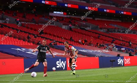 Action inside Wembley Stadium, with Sky Bet branding, during the Sky Bet League 2 Play off Final between Exeter City and Northampton Town