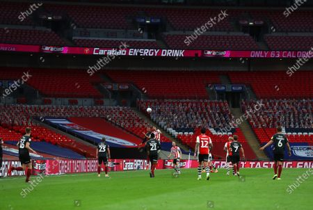 Action inside Wembley Stadium, with Carabao Mixed Berry branding, during the Sky Bet League 2 Play off Final between Exeter City and Northampton Town