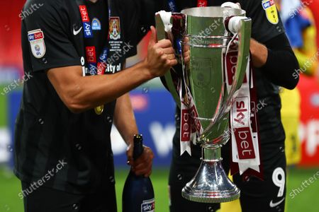 Sky Bet colours on the League Two play off final trophy