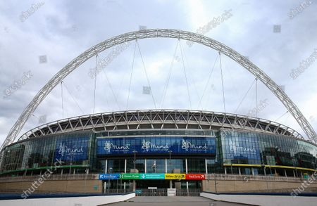 Wembley Stadium, with Mind branding, before the SkyBet League 2 play off final between Exeter City and Northampton Town