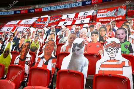 Faces on seats of the Exeter City fans, including a cat and a Where's Wally inside Wembley Stadium, before the SkyBet League 2 play off final between Exeter City and Northampton Town