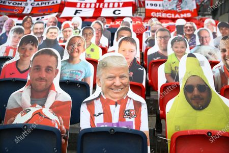 Faces on seats of the Exeter City fans, including Donald Trump, inside Wembley Stadium, before the SkyBet League 2 play off final between Exeter City and Northampton Town