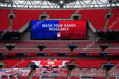 Sky Bet EFL giant screen 'Wash Your Hands' branding Sky Bet branding, during the League 2 Play Off final