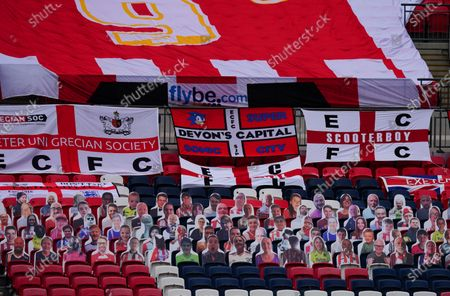 A view inside Wembley Stadium of faces on seats of the Exeter City fans, before the SkyBet League 2 play off final between Exeter City and Northampton Town