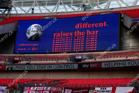 The giant screen shows Mitre branding in Wembley Stadium during the Sky Bet League 2 Play off Final between Exeter City and Northampton Town