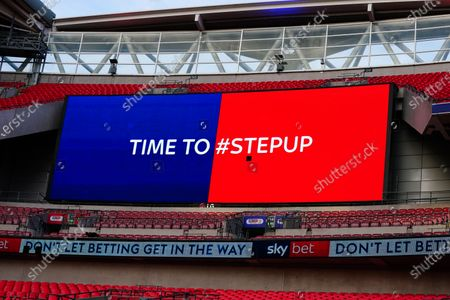 The giant screen shows Sky Bet Step Up branding in Wembley Stadium during the Sky Bet League 2 Play off Final between Exeter City and Northampton Town