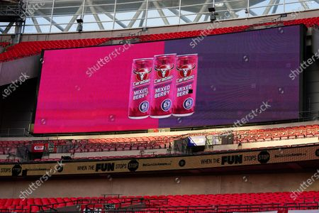 The giant screen shows Carabao Mixed Berry Branding in Wembley Stadium during the Sky Bet League 2 Play off Final between Exeter City and Northampton Town
