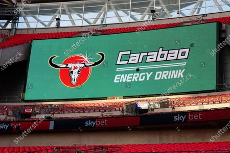 The giant screen shows Carabao drink Branding in Wembley Stadium during the Sky Bet League 2 Play off Final between Exeter City and Northampton Town