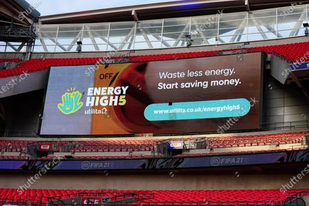 The giant screen shows Utilita branding in Wembley Stadium during the Sky Bet League 2 Play off Final between Exeter City and Northampton Town
