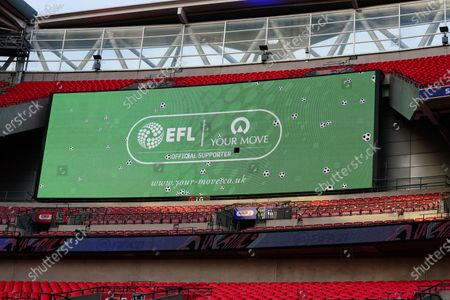The giant screen shows Your Move branding in Wembley Stadium during the Sky Bet League 2 Play off Final between Exeter City and Northampton Town