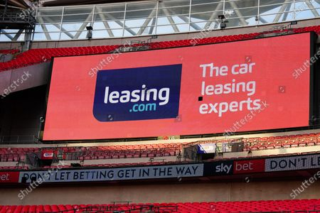 The giant screen shows Leasing.com branding in Wembley Stadium during the Sky Bet League 2 Play off Final between Exeter City and Northampton Town